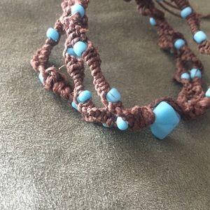 Brown hemp boho blue beaded bracelet